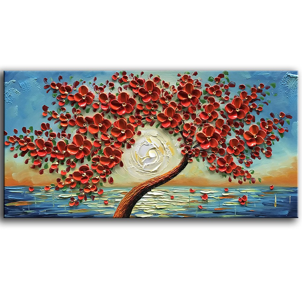 baccow 100/% Hand-painted 2448 Floral Canvas Paintings Wall Art 3D Abstract Flower Artwork Wall Paintings Framed Ready to Hang for Kitchen Living Room Bedroom Home Decorative Pictures
