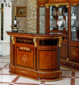Yb38 Antique Luxury Bar Furniture Indoor Bar Wooden Hand Carved Bar