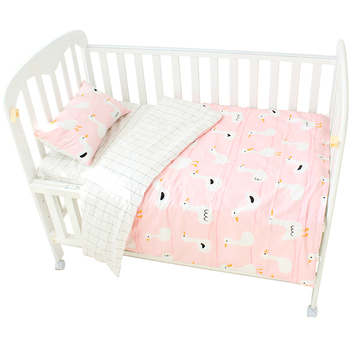custom high quality printed cotton material summer used baby quilt blanket cover sheet 3 piece crib bedding set