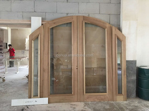 Rainbow french wood entry door