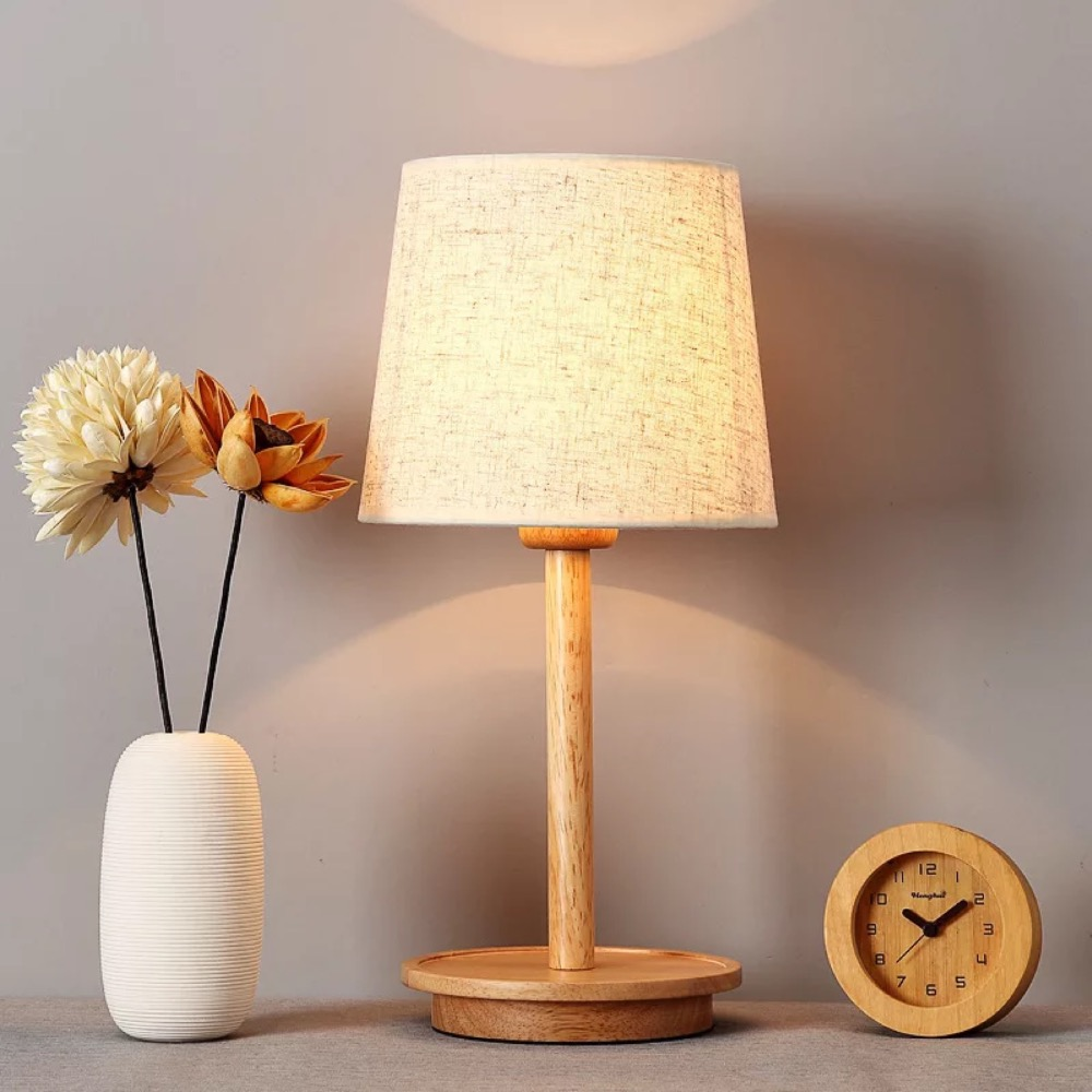 Classic Chinese style fabric wooden table lamps for bedroom study