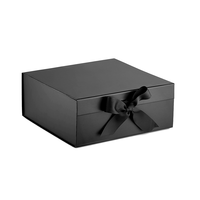Large black white paper cardboard gift hamper box with ribbon