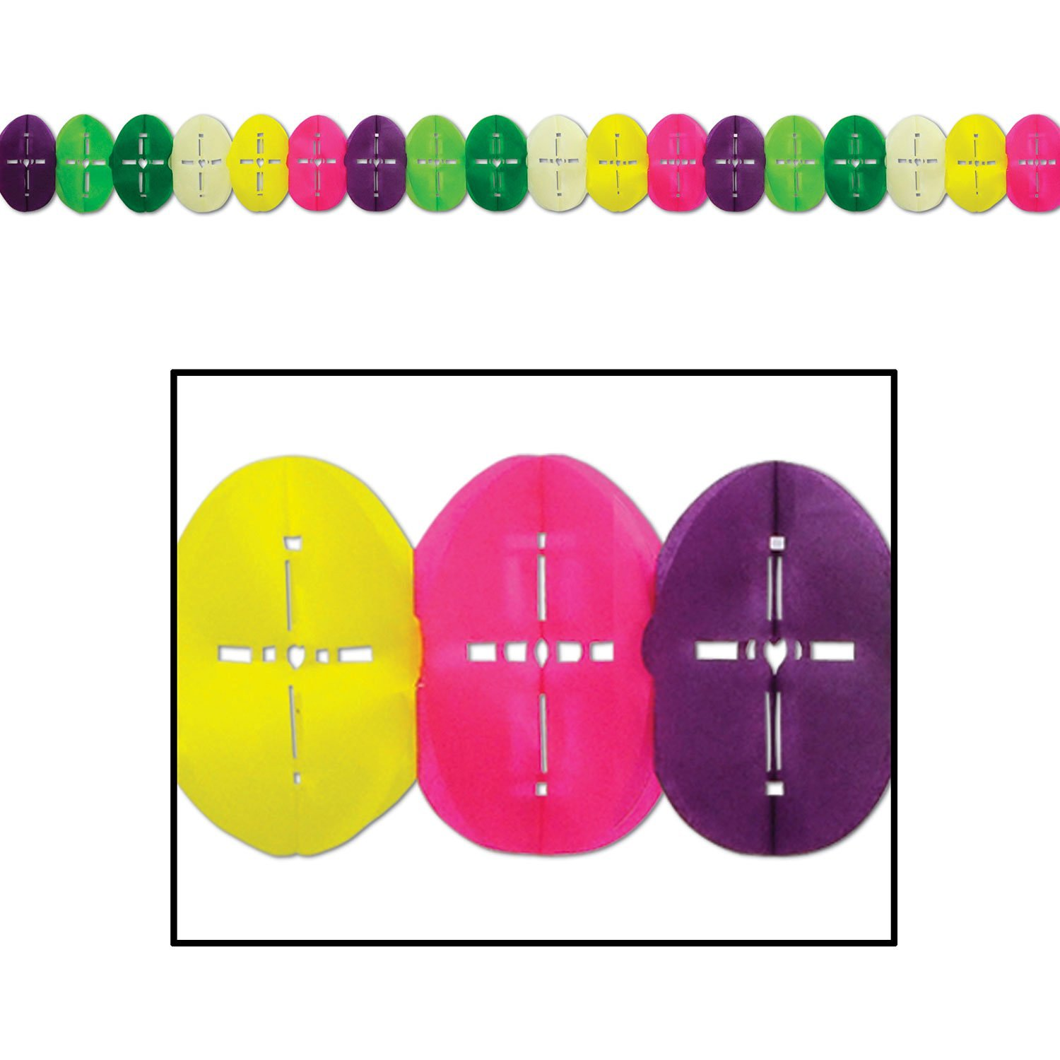Beistle 44117 1-Pack Easter Egg Garland for Parties, 6-1/4 by 12-Feet