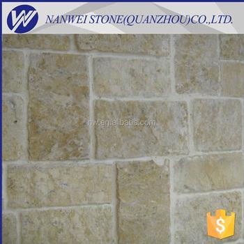 China Stone Limestone Yellow Color Stone Panel Decorative Stone Wall ...