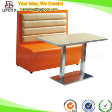 (SP-CT654)Customized orange leather booth restaurant banquettes