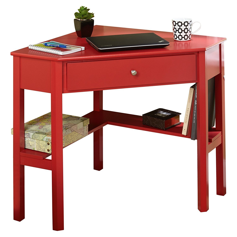 Wood Writing Computer Table Desk- Home Office Corner Writing Desk Furniture - Desk Drawer Organizer - Wooden Desk with File Drawer (Red)