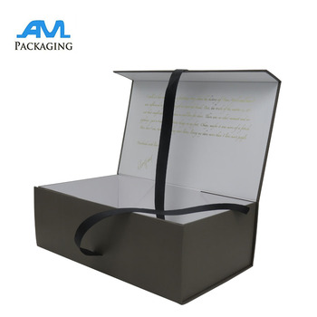 Luxury large magnetic folding gift box ribbon closures clothing packaging