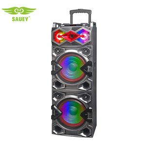 Sauey the best BT portable dj flashing light usb karaoke speaker with fm remote trolley speaker 10inch