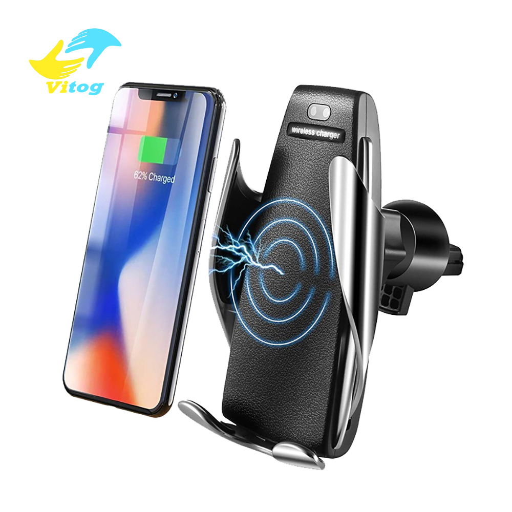 Vitog New Arrival S5 Infrared Auto Clamping Wireless Car Charger 10W fast charging Air Vent Holder 360 Rotation Charging Mount фото
