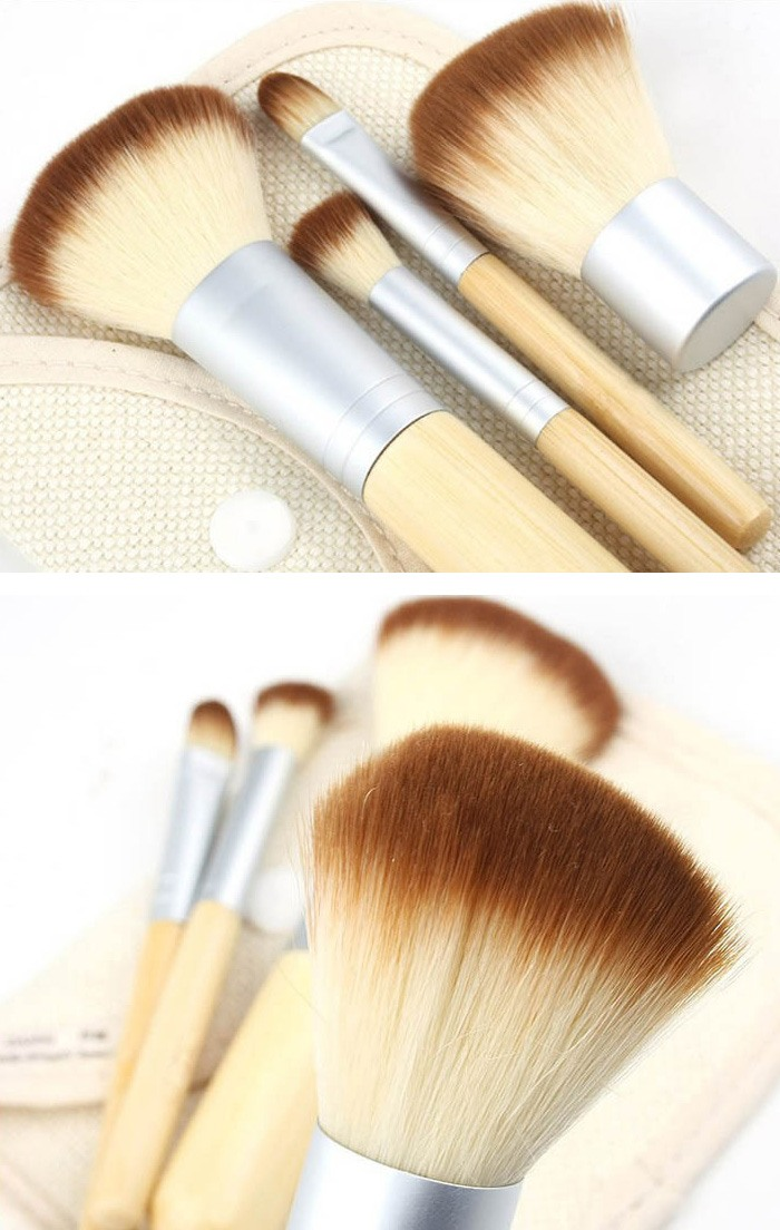 Bamboo Makeup Brushes: 1set/4Pcs Professional Foundation Make Up Bamboo Brushes