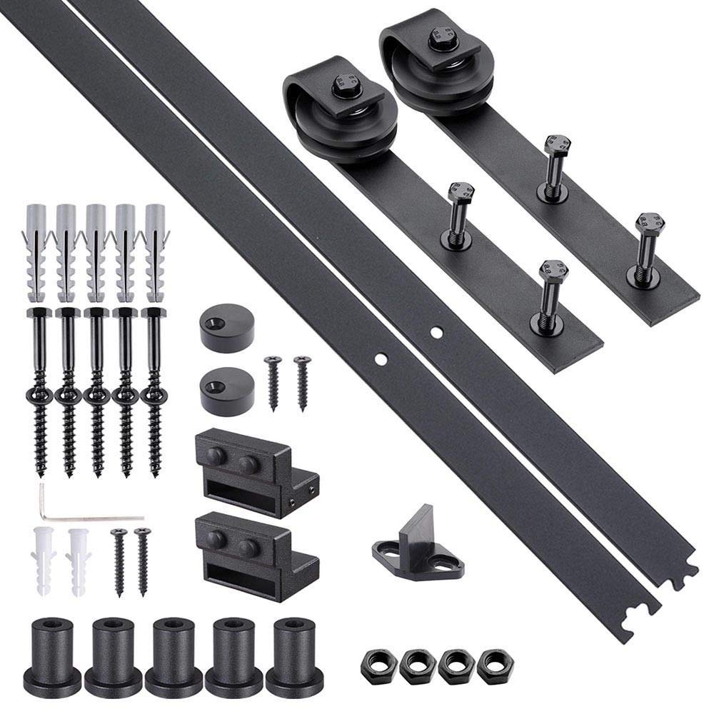 6.6 FT Carbon Steel Sliding Barn Wood Door Hardware Track Roller Kit Set Black with Ebook