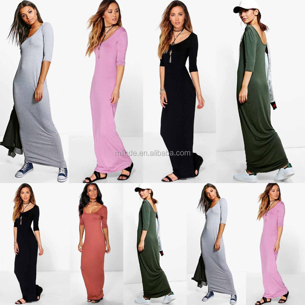 oem muslim boho kleidung kleider lieferant 3/4 Ärmel scoop