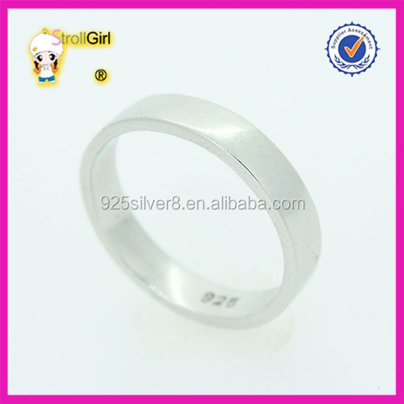 Wholesale high polish engraved heart design 925 silver Wedding Band Ring