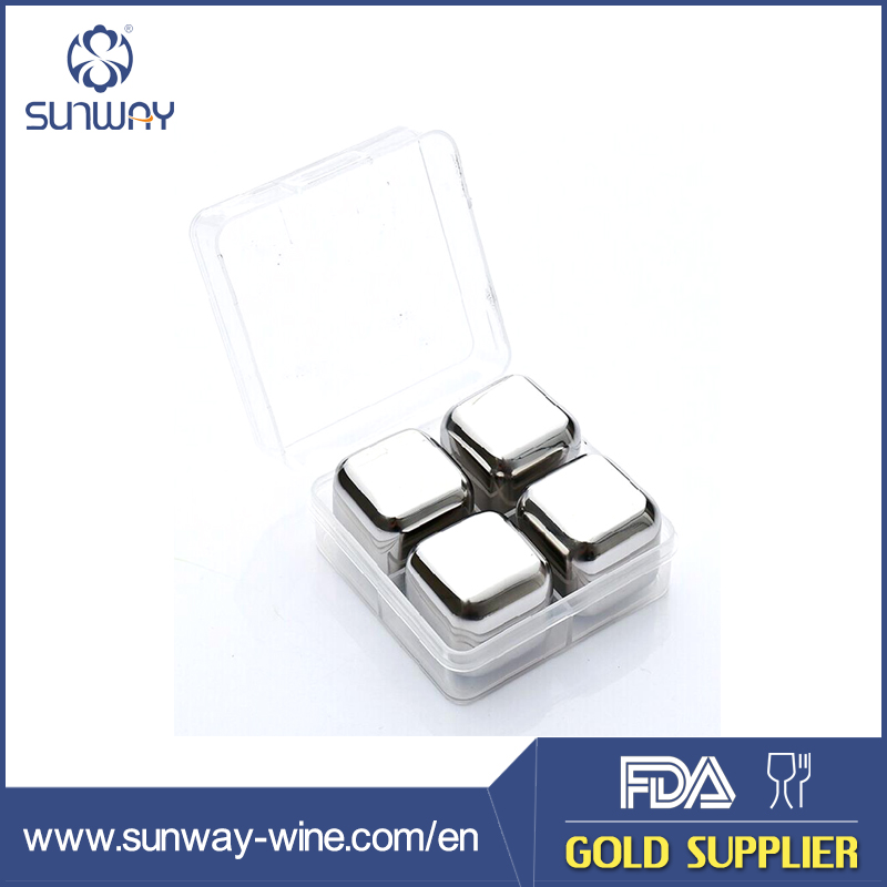 Business gift set stainless steel barware Acrylic ice cubes 2.5cm BJ08 for wine lover