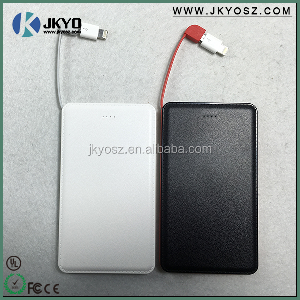 power bank 5000mah, mobile power supply, portable usb battery with built in cable