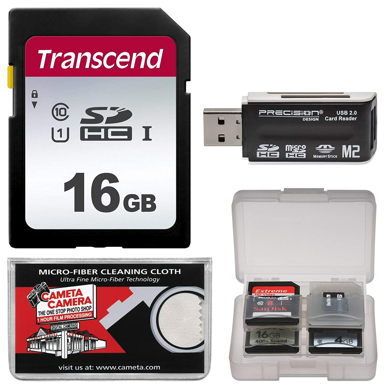 Transcend 16GB SecureDigital SDHC UHS-I Class 10 U1 Memory Card with Reader + Case + Kit