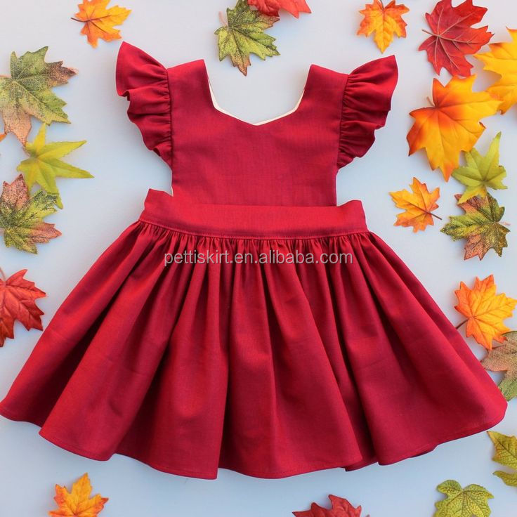 Boutique Kids Party Wear Girls Dress Red Flutter Sleeve Baby 6 Years Old Dresses