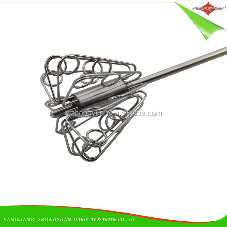 ZY-C10073 Food quality stainless steel kitchen press type egg whisk
