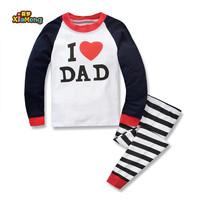 2019 New arrival high quality cotton i love dad long sleeves cute kids pajamas