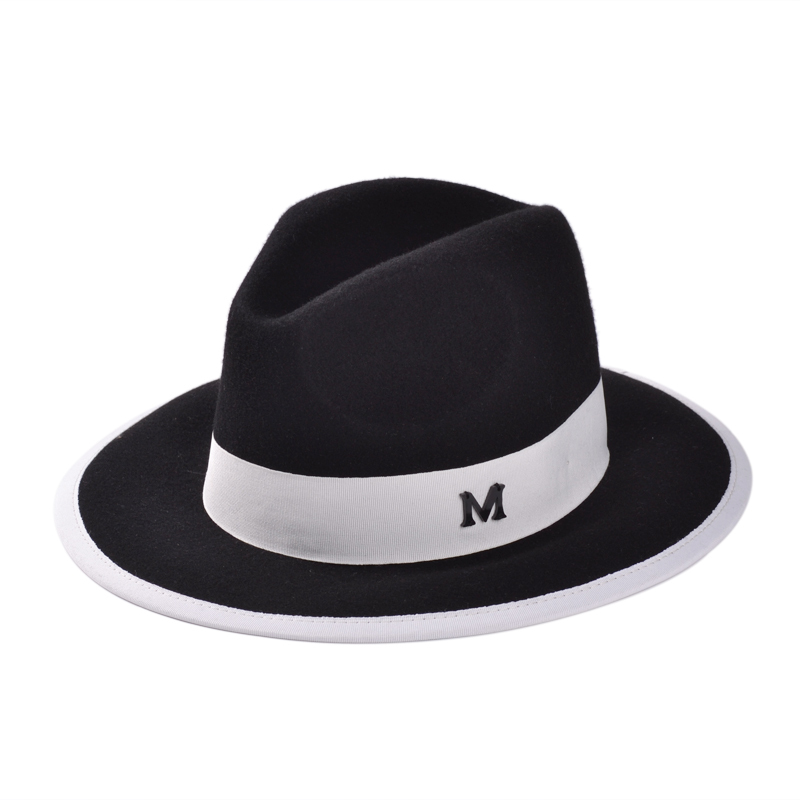 b57eedd2443 Get Quotations · Free Shipping European and American Fashion Vintage Simple  Black and White Letter M Wide Brim Unisex