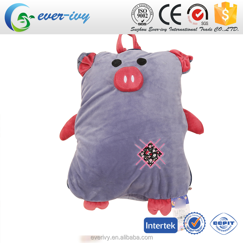 new design high quality Children's blankets and pillows plush animal pillow blankets