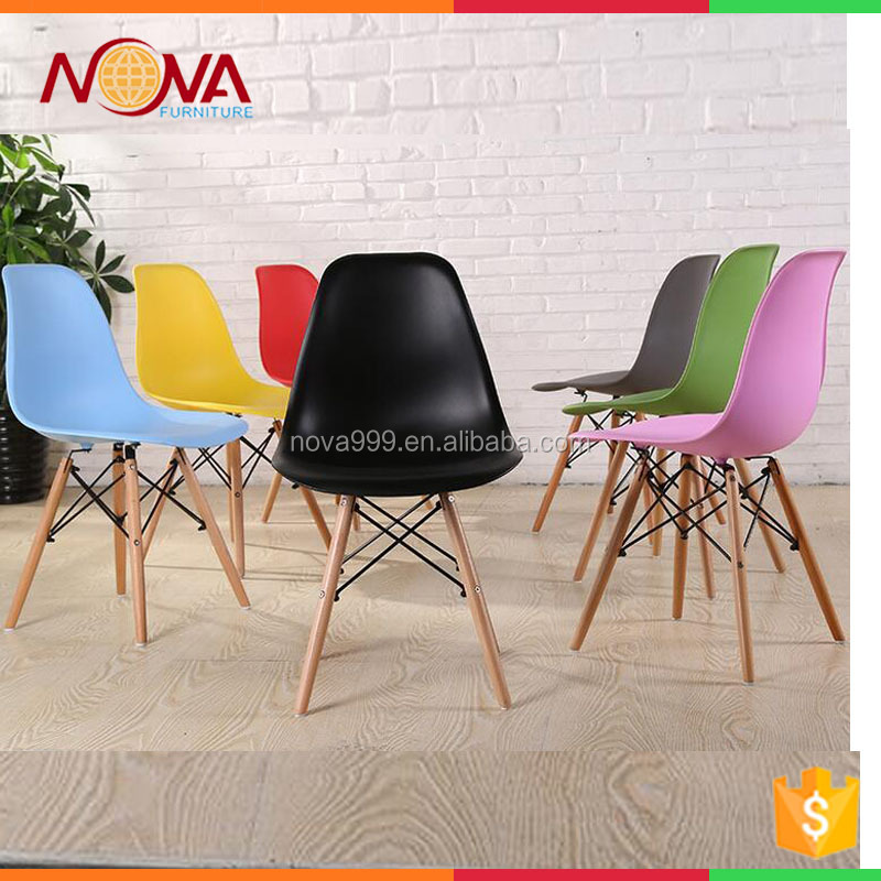 Wholesale home furniture best quality HDPE material ABS/PP plastic no folded armless wire wooden legs living room chairs on sale
