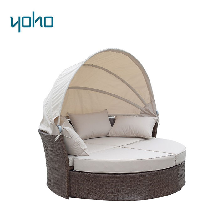 Outdoor Wicker Rattan Patio Daybed with Canopy/Modern Outdoor Daybed