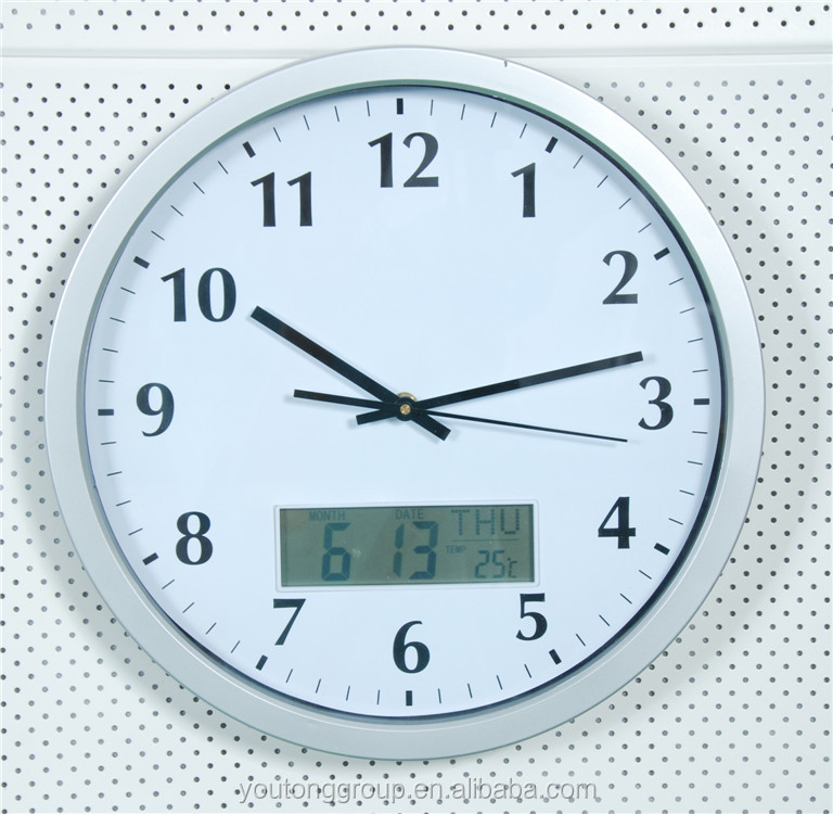 Analog Wall Clock With Digital Day And Date Analog Wall Clock