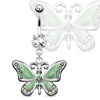 Double Gem Fancy Green Pink Black Enamel Butterfly Dangle Belly Ring