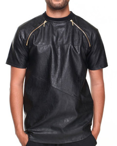 Cool style men leather tees t shirt with zipper front