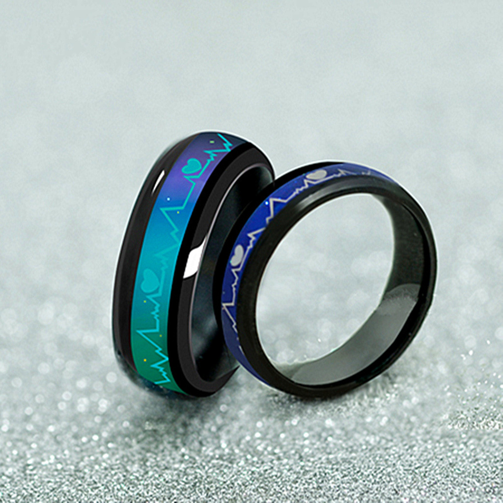 Ecg Heartbeat Electrocardiogram Magic Love Color Changed Mood Ring Couple Lovers Wedding Rings: Mood Ring Wedding Ring At Reisefeber.org