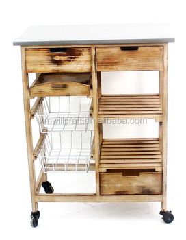 Kitchen Cart With Drawers | Kitchen Wooden Trolley With Basket And Tray 3 Drawers Food Trolley