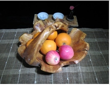 Fruit candy European creative fashion dried wood carving wooden hotel gift basket of fruit bowl box