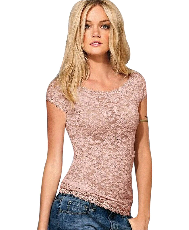 YOLI Women's Sexy Lace Blouse Small Short Sleeve Summer Casual Tee Shirts Short Sleeve Tops T-Shirt