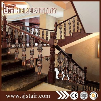 Aluminum Wood Handrail Design Casting Aluminum Post Pillars Interior Stairs  Railing Designs