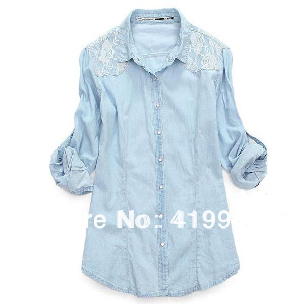 9899d90b11 Get Quotations · New Fashion Women Lady Girl Retro Vintage Long Sleeve Blue  Denim Shirt Lace Jean Top Blouse