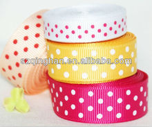 Double Face Printing Pink Red White Polka Grosgrain Dot Ribbon Supplier