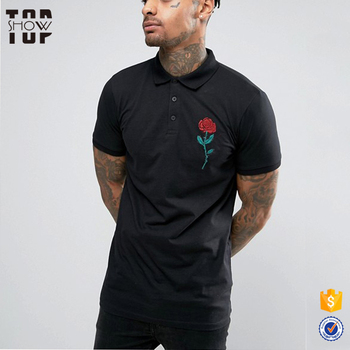 New Design High Quality Customized Logo Rose Embroidered Polo Shirts