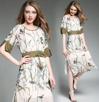 zm50079b europe women clothes 2017 summer new style women's printed slim dresses