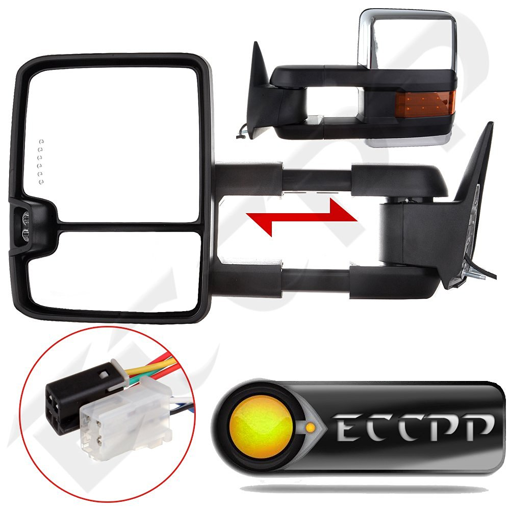ECCPP Towing Power Led Signal Chrome Side Mirrors For 88-98 Chevy GMC C/K Truck Tow Mirrors Pair