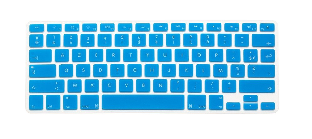 "French / English Keyboard Cover, HQF® Notebook Silicone *French Belgian Keyboard Skin* Protection Laptop Layout for All Apple Macbook Air Pro 13"" 15"" *US Version*(Turquoise)"