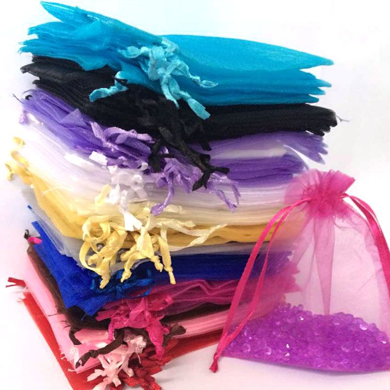 Hot Pink Drawstring Wholesale Organza Bag 12x17cm