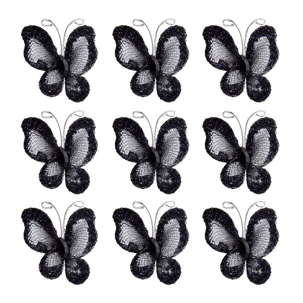 50pcs Sheer Mesh Wire Glitter Butterfly with Gem (Black)