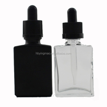 YM Hot 30ml empty rectangular frosted matte black cosmetic e liquid vape oils glass dropper bottles