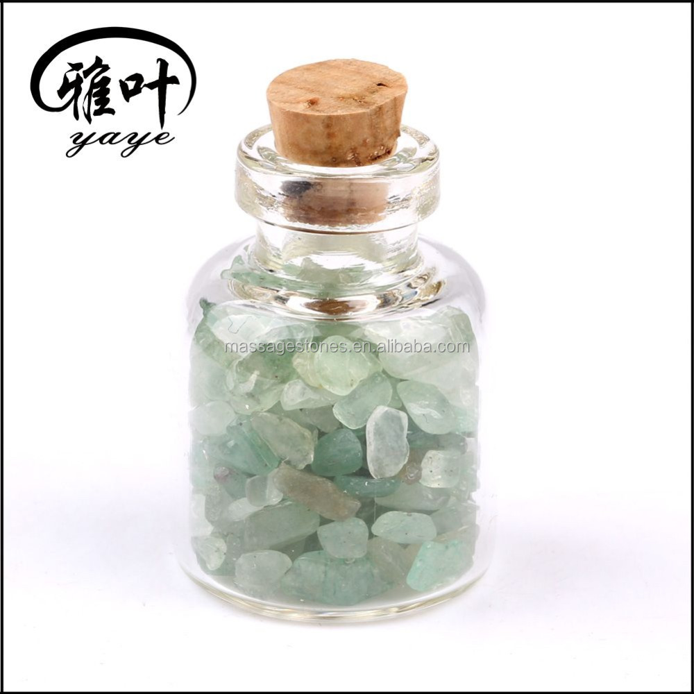 Wholesale Natural Semi Precious Green Aventurine Chip Stones with glass bottle