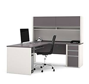 "Bestar L Shaped Desk W/Hutch 71.1""W X 82""D X 65.9""H Hutch W/Two Large Flip Up Doors Two Convenient Paper Shelves Under Flip Up Doors & Rubber Strip For Wire Management - Slate & Sandstone"