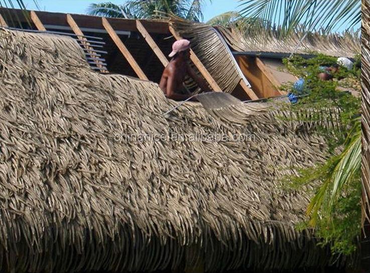 Fireproof Plastic Man Made Roof Decoration Palm Leaf