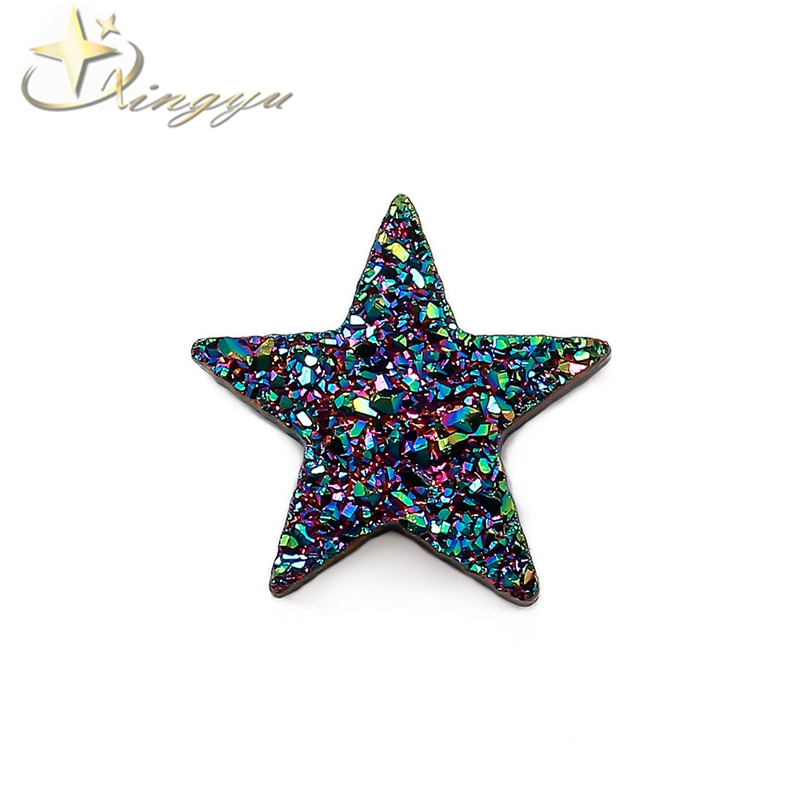 Wholesale Natural Agate Druzy Star Cut Drusy With PVD Plating for Pendants