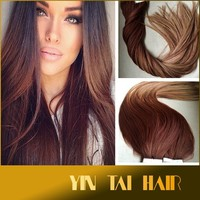 5 Star Ombre Balayage Cuticle Adhsive Remy Human Auburn Ombre Tape-in Seamless weft Hair Extensions