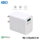 Wholesale bulk qc3.0 quick charge 1 port 18w fast charging qi wireless wall charger